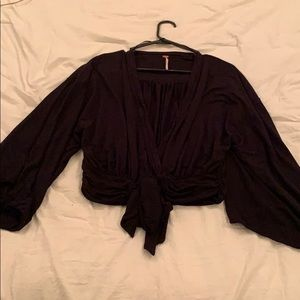 FreePeople black long sleeve blouse